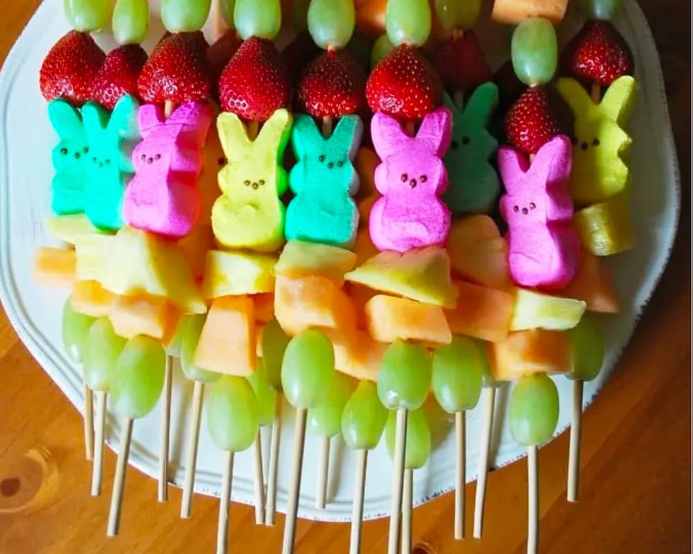 A healthier alternative for Easter snacks - Peeps and fruit kabobs by Amee's Savory Dish