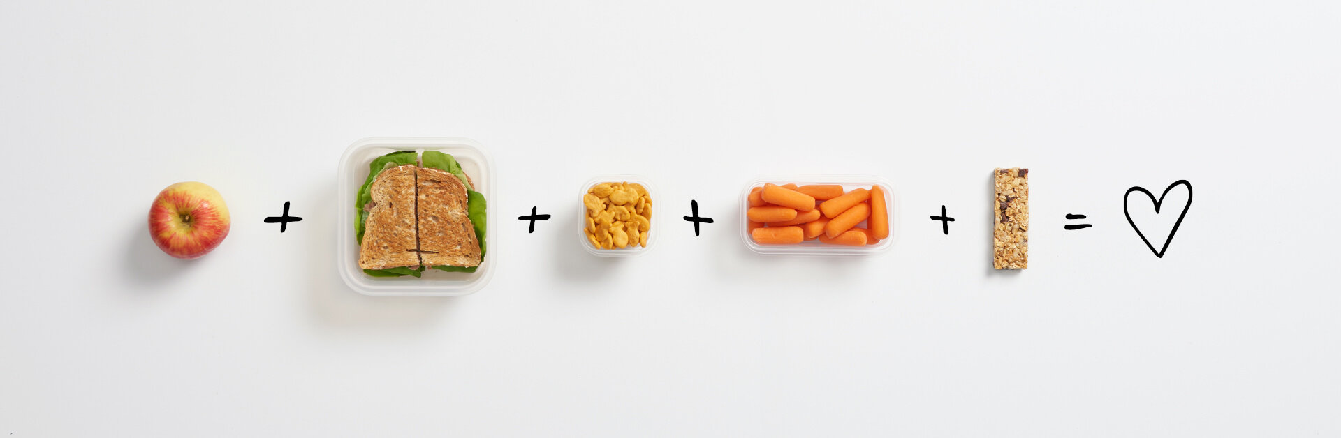 Apple, sandwich, crackers, baby carrots and a granola bar.