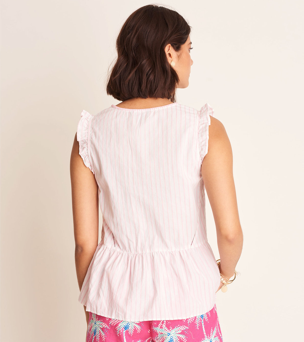 View larger image of Angie Blouse - Pink Lemonade Stripes