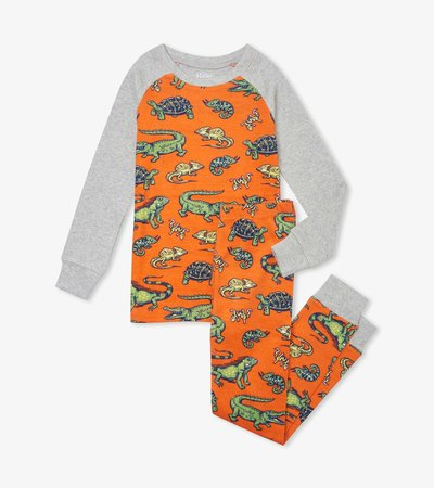 Aquatic Reptiles Organic Cotton Raglan Pajama Set