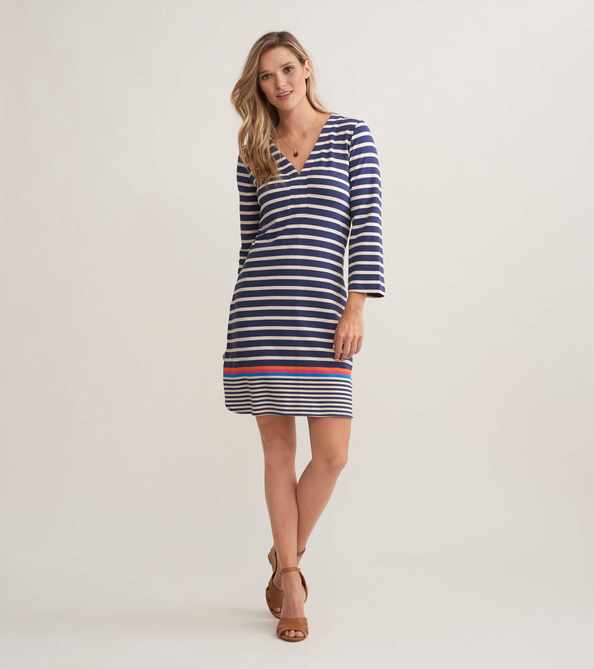 View larger image of Ashley Dress - Navy Stripes