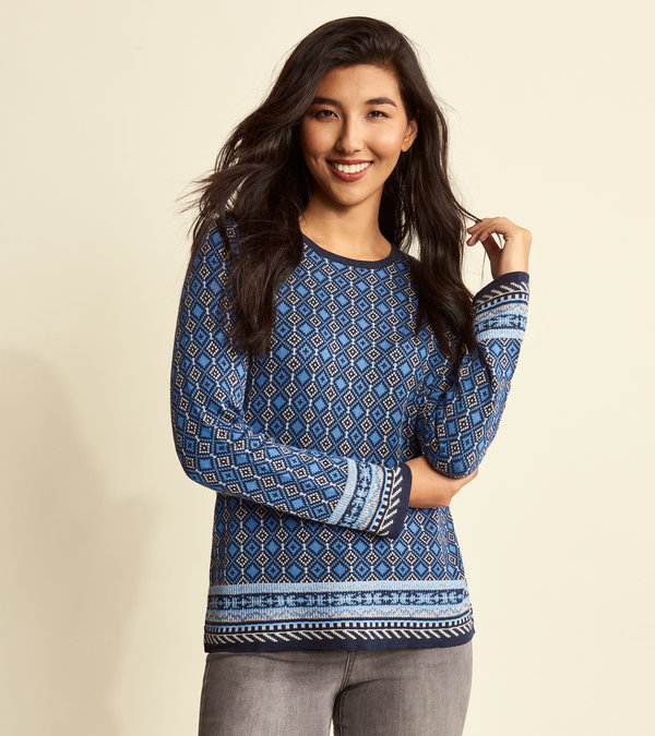 Ayla Sweater - Dutch Blue Argyle