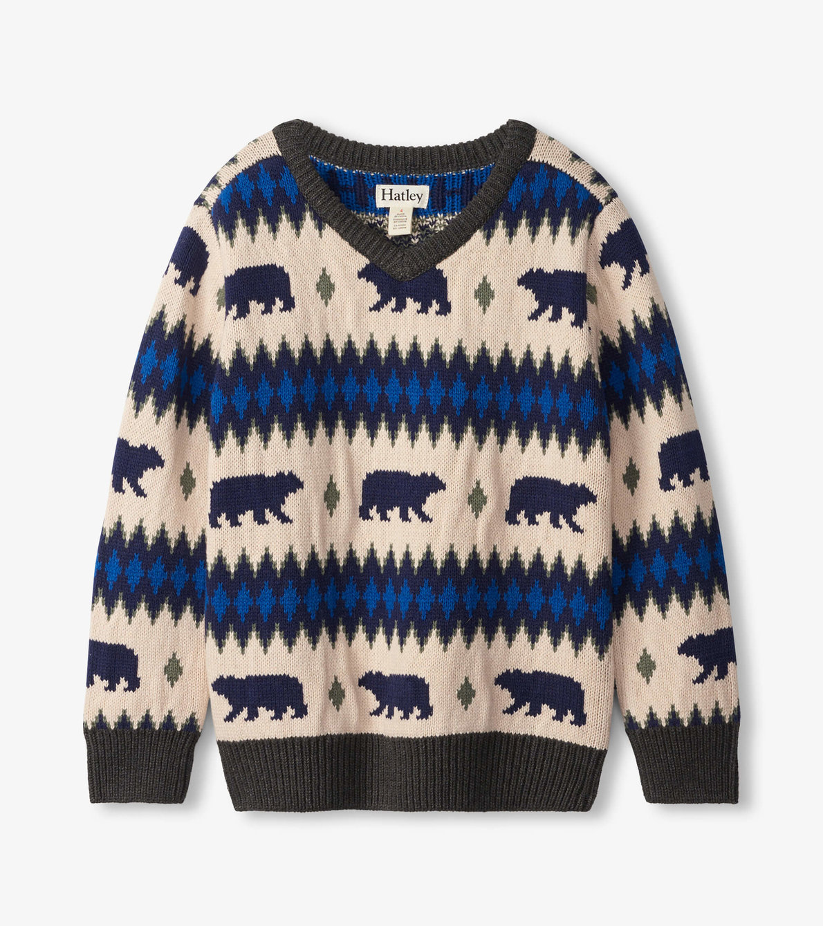 View larger image of Bear Fair Isle V-Neck Sweater