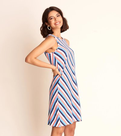 Bella Tank Dress - Diagonal Stripes