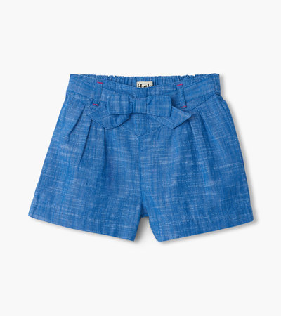Belted Chambray Paper Bag Shorts