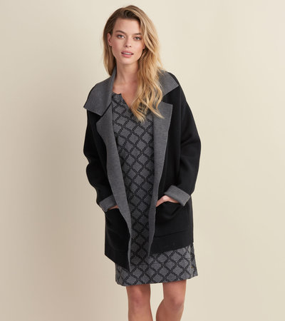 Black and Charcoal Lauren Overcoat