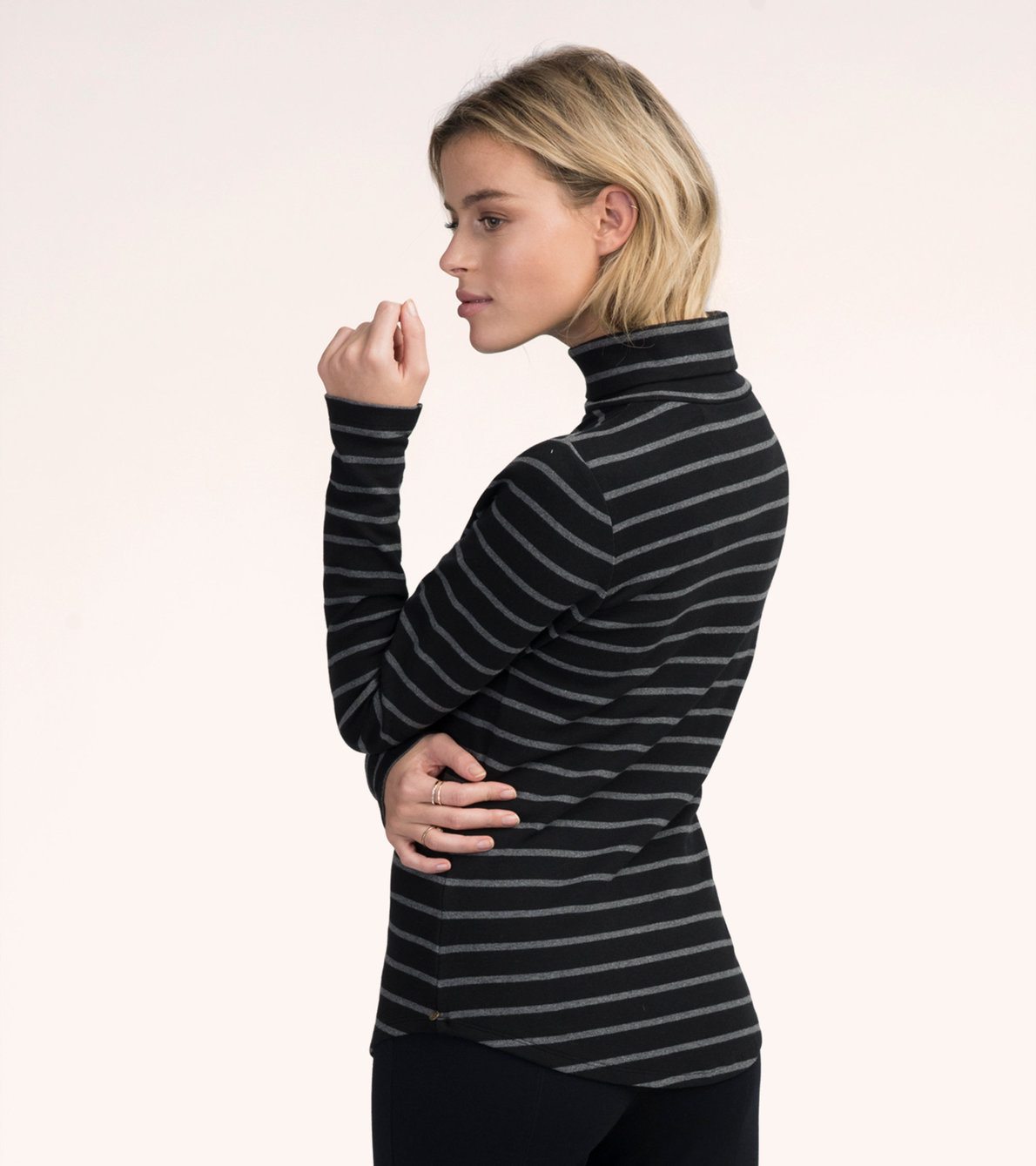 View larger image of Black and Charcoal Stripes Turtleneck