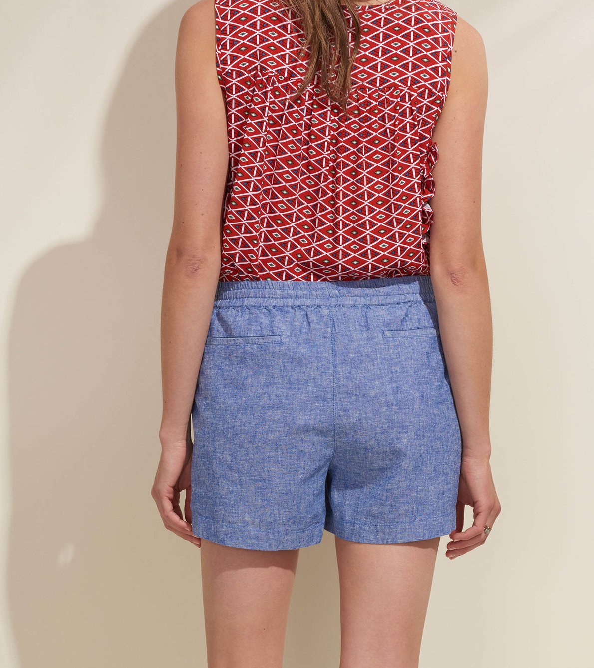 View larger image of Blair Ruffle Tank - Stamped Triangles