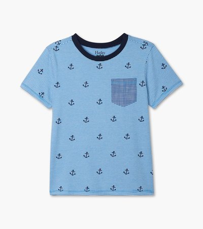 Blue Anchors Front Pocket Tee