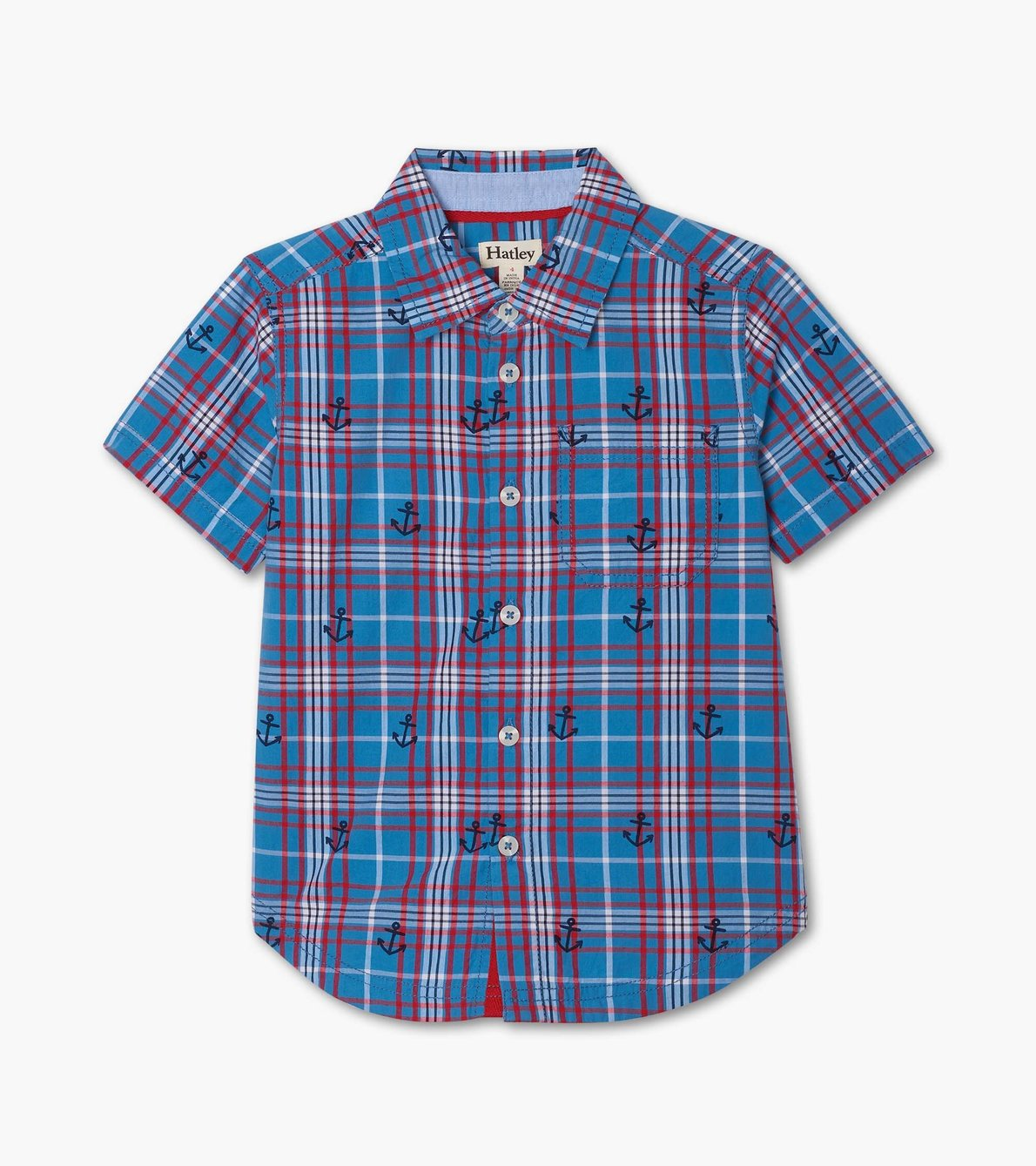View larger image of Blue Plaid Short Sleeve Button Down Shirt