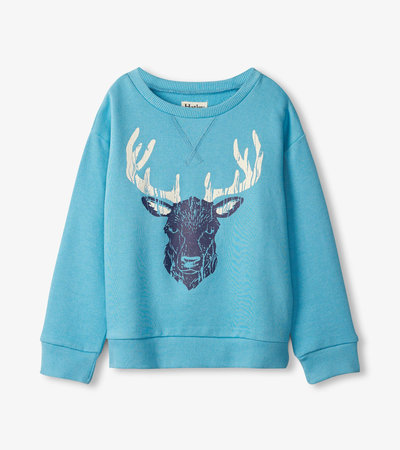 Blue Stag Pull Over Sweatshirt