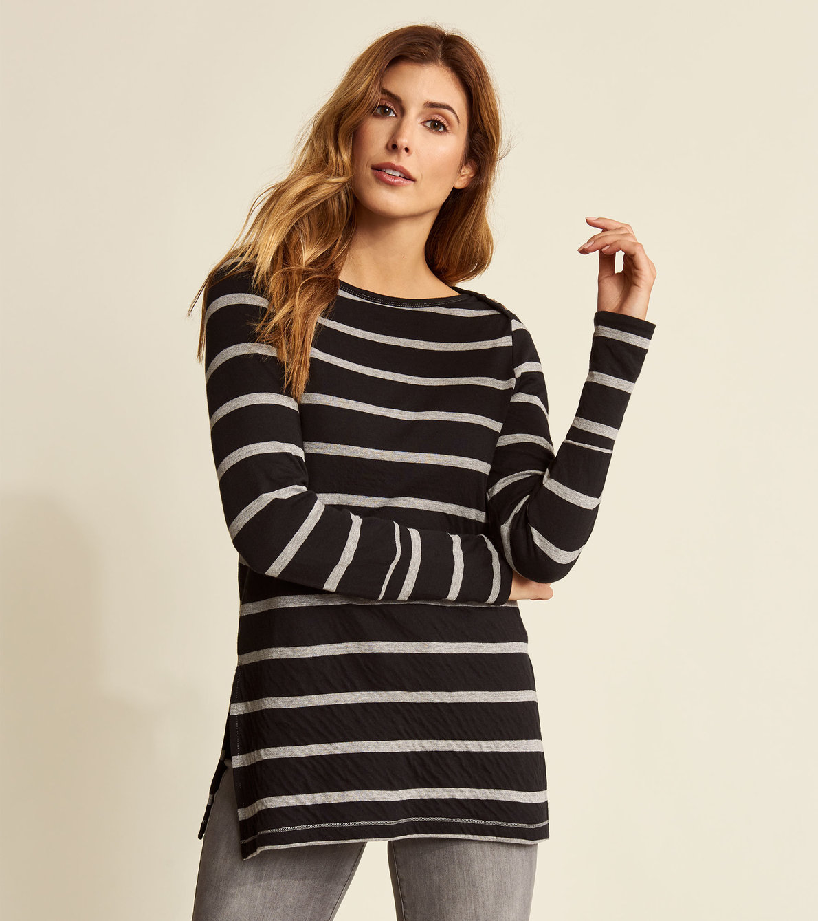 View larger image of Boat Neck Tee - Grey Stripes