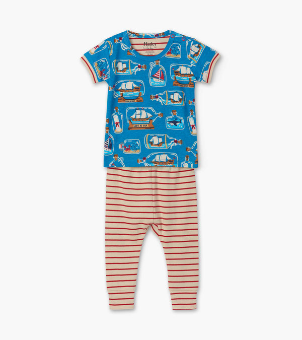 Bottled Ships Organic Cotton Baby Short Sleeve Pajama Set