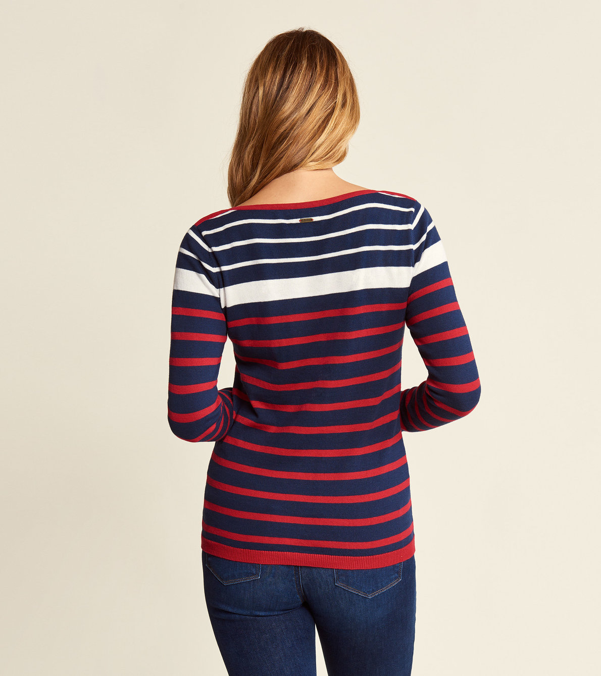 View larger image of Breton Sweater - Navy and Red Stripes