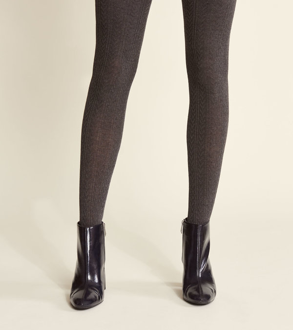 Cable Knit Tights - Charcoal Melange