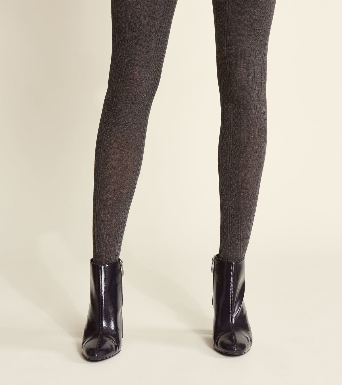 View larger image of Cable Knit Tights - Charcoal Melange