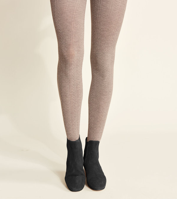 Cable Knit Tights - Oatmeal Melange