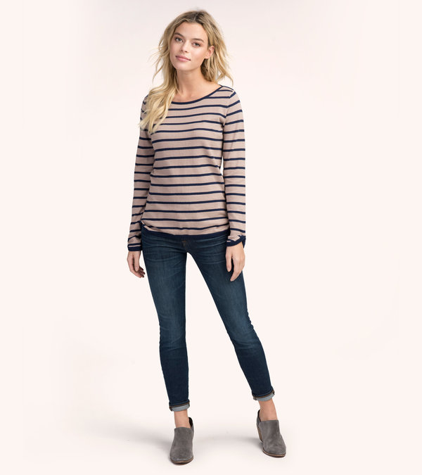 Camel and Navy Stripes Breton Top