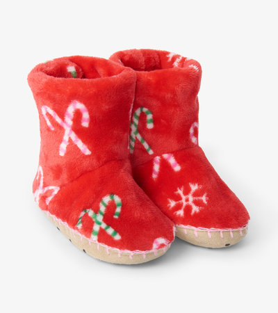 Candy Cane Fleece Slippers