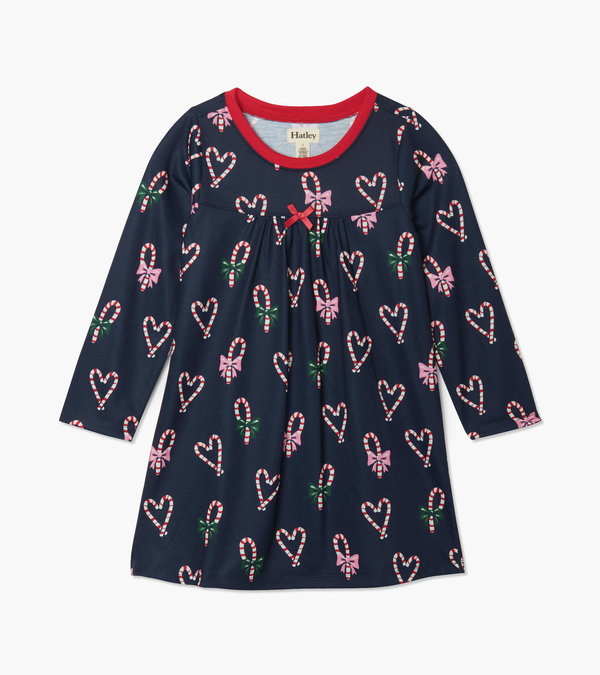Candy Cane Hearts Long Sleeve Nightdress