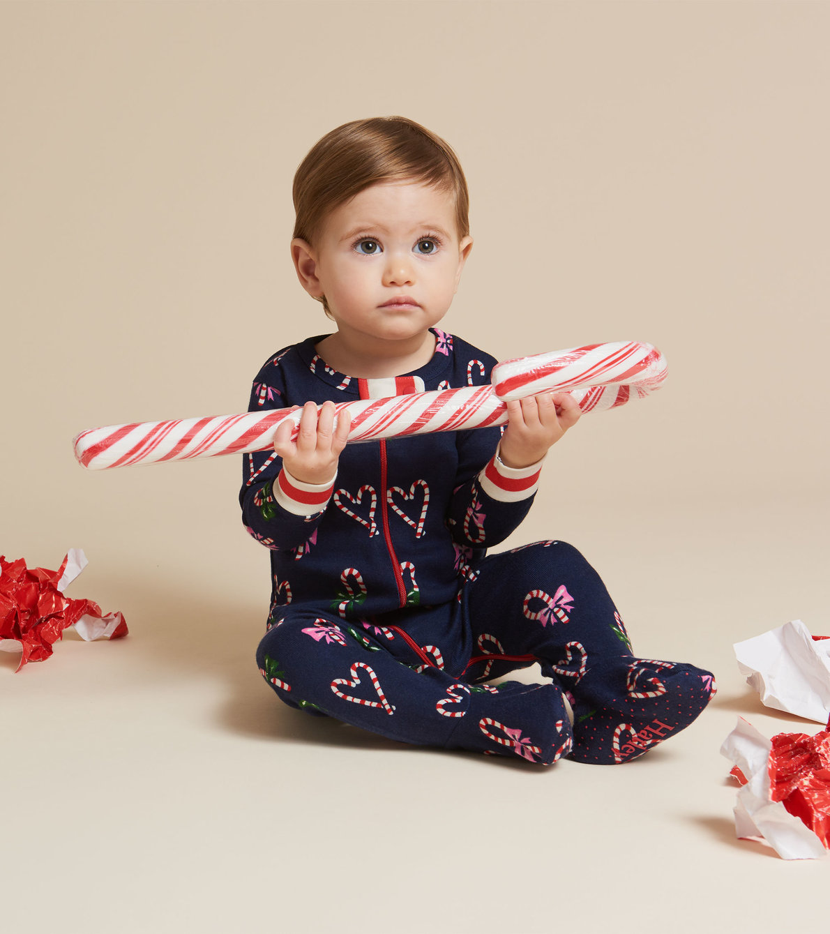 View larger image of Candy Cane Hearts Organic Cotton Footed Coverall