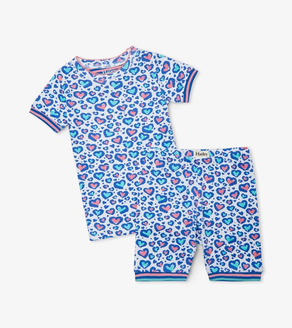 Cheetah Hearts Organic Cotton Short Pajama Set