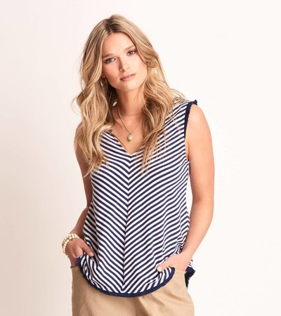 Corinne Top - Navy Stripes