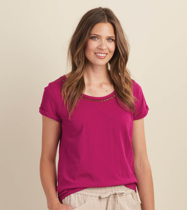 Cotton Linen Tee - Orchid