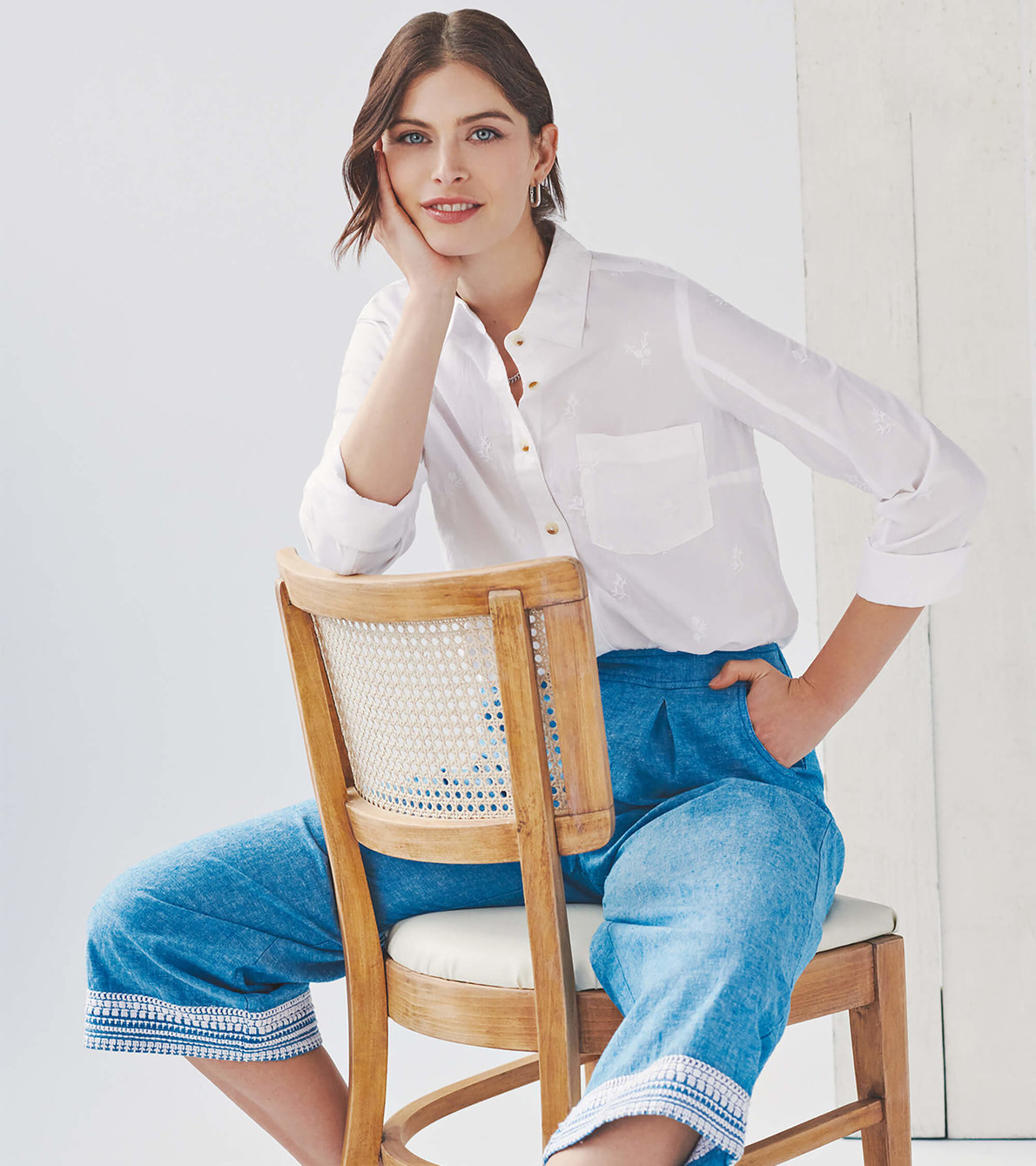 View larger image of Cropped Wide Leg Pants - Chambray