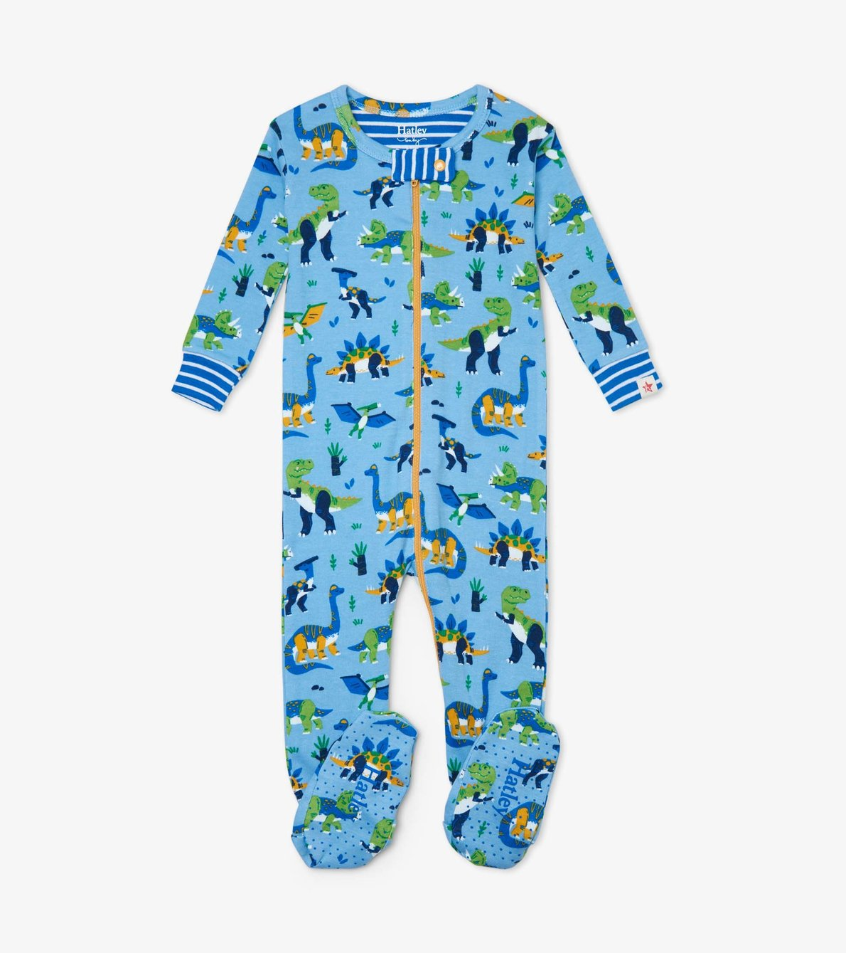 View larger image of Curious Dinos Organic Cotton Footed Coverall