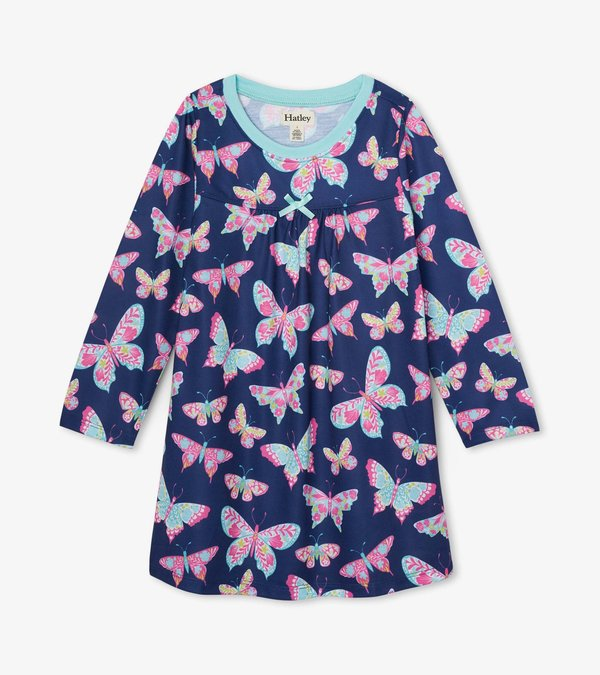 Delightful Butterflies Long Sleeve Nightdress