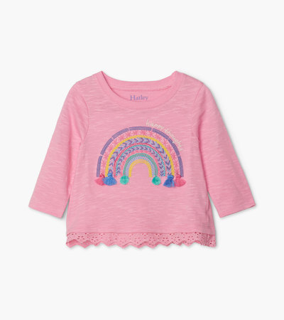 Delightful Rainbow Long Sleeve Baby Tee