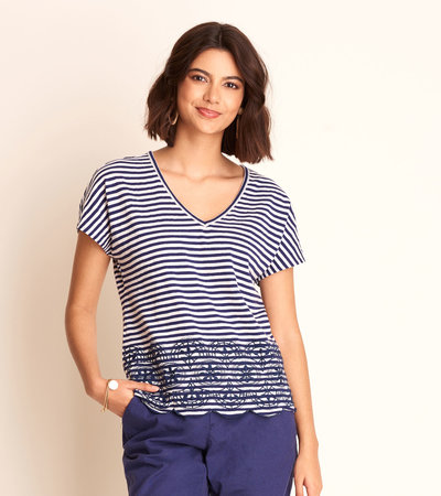 Embroidered Tee - Blue Stripes