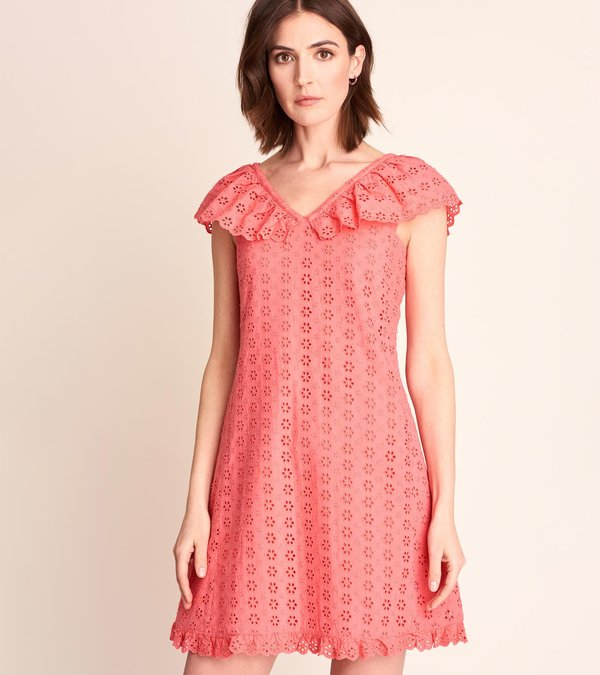 Eyelet Shift Dress - Sugar Coral