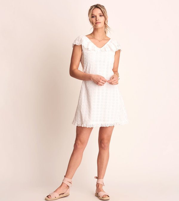 Eyelet Shift Dress - White