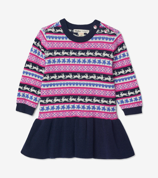 Fair Isle Bunnies Baby Sweater Dress