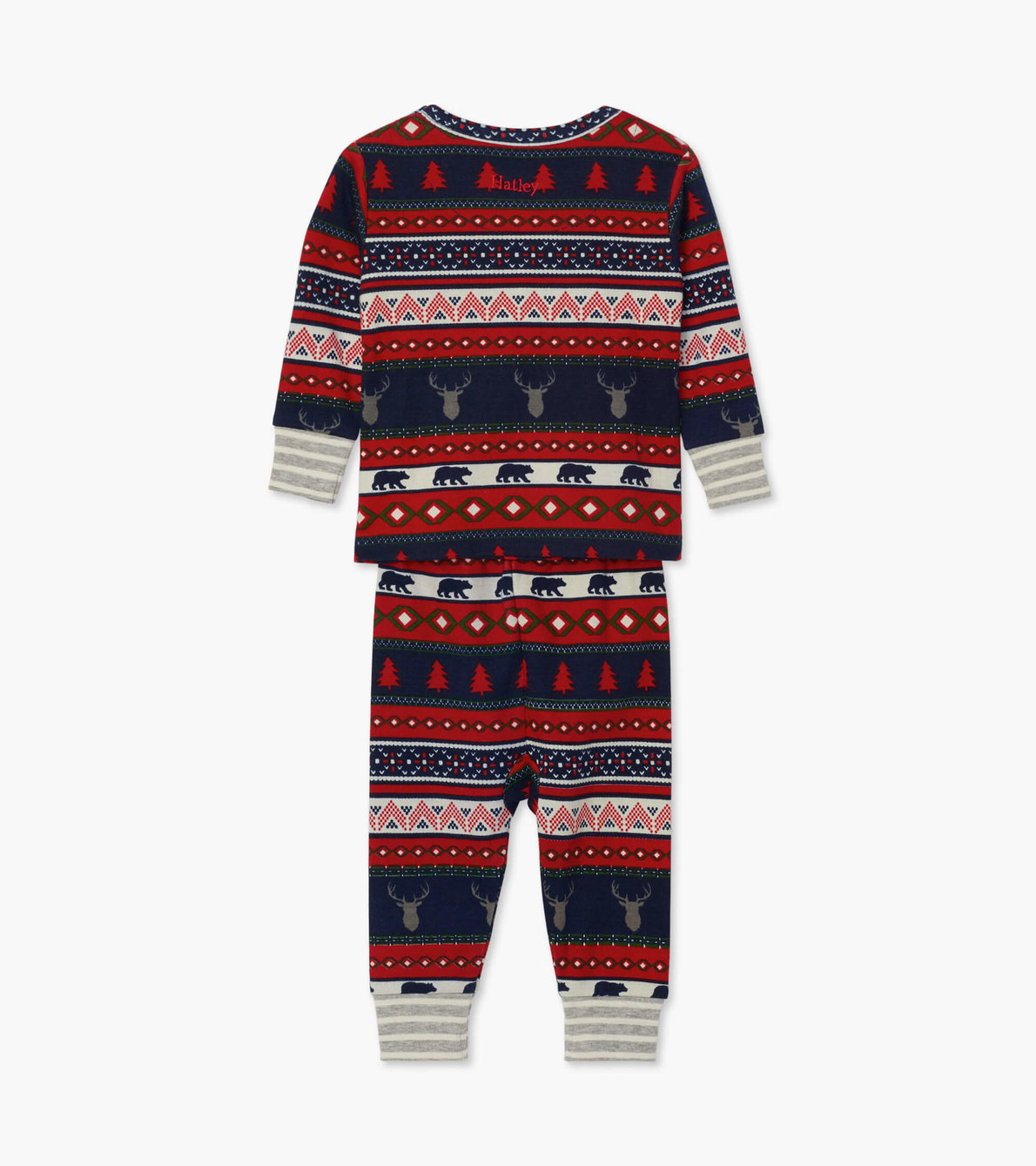 View larger image of Fair Isle Stags Organic Cotton Baby Pajama Set