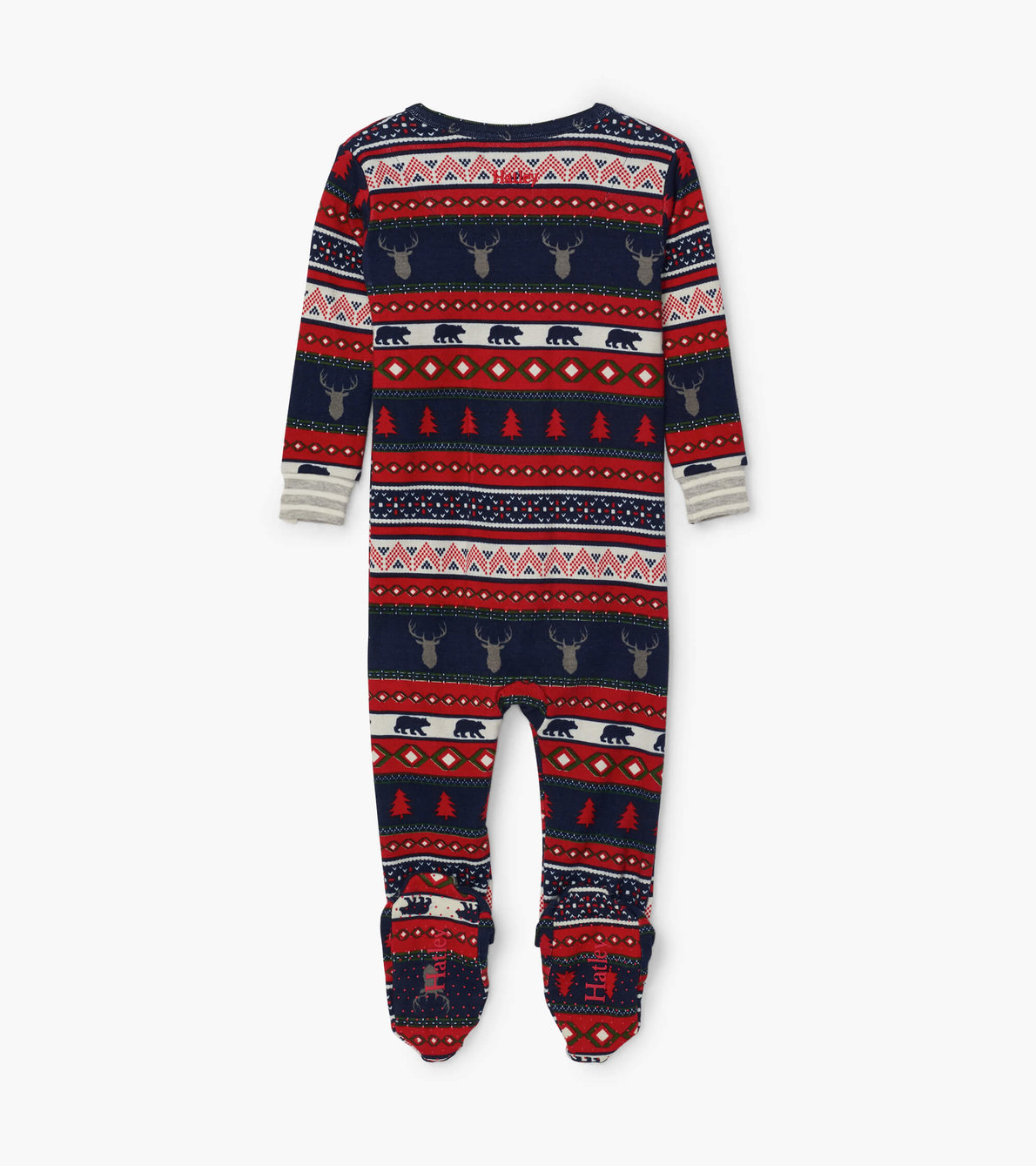 View larger image of Fair Isle Stags Organic Cotton Footed Coverall