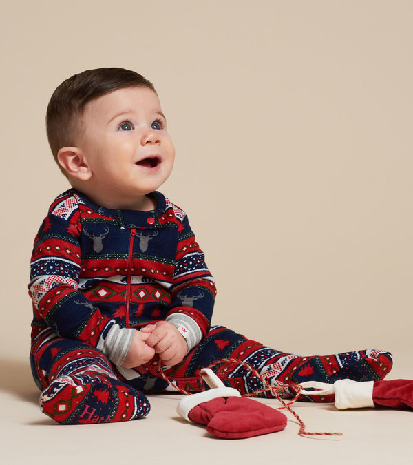 Fair Isle Stags Organic Cotton Footed Coverall