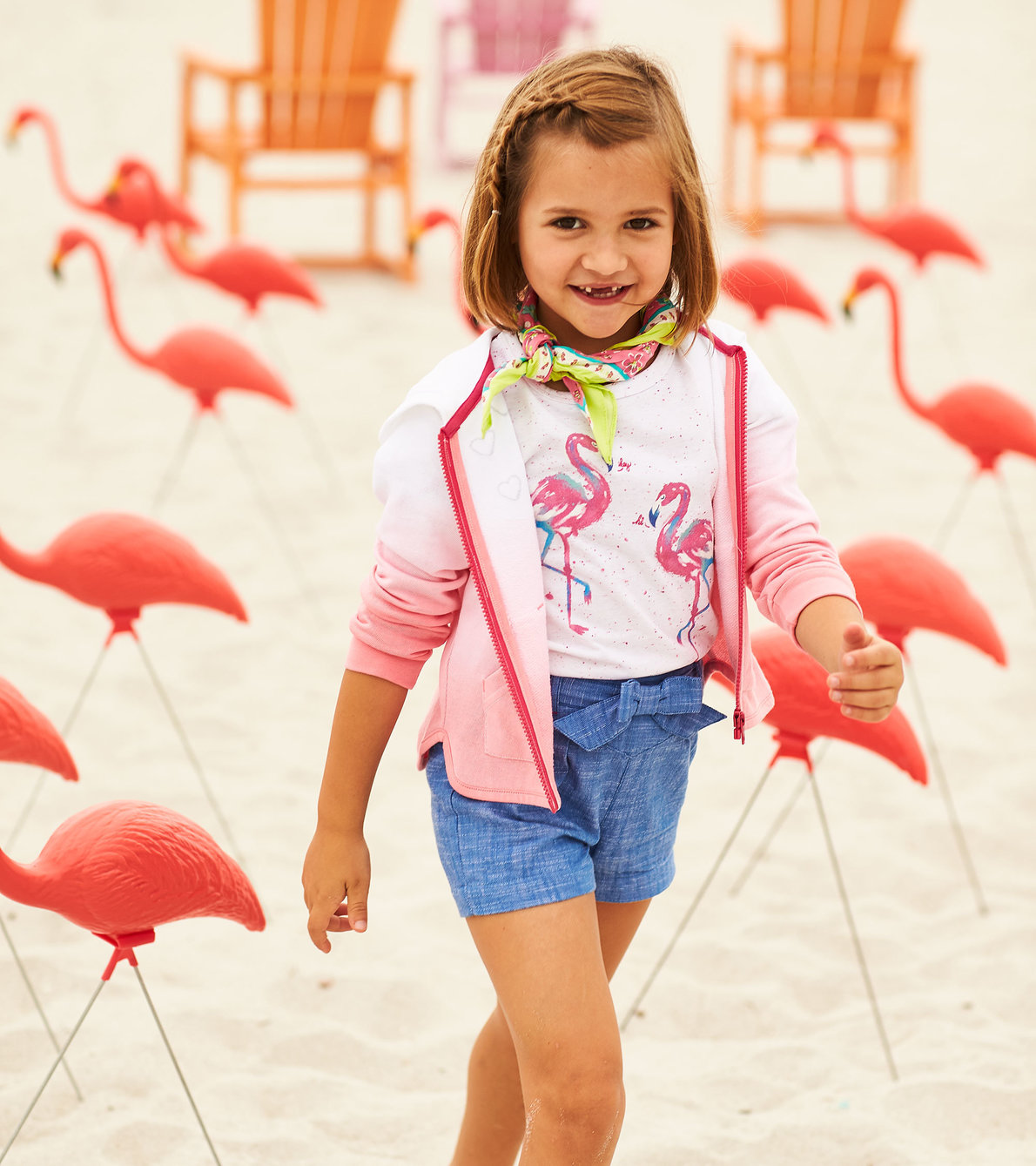 View larger image of Fancy Flamingo Flutter Sleeve Tee