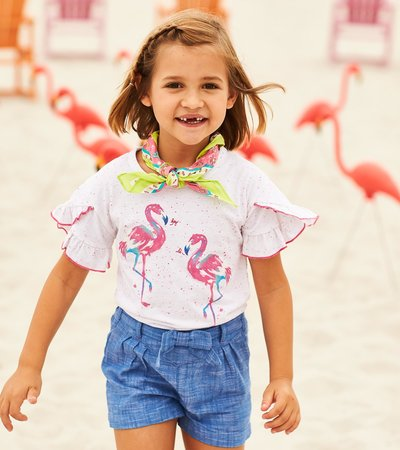 Fancy Flamingo Flutter Sleeve Tee