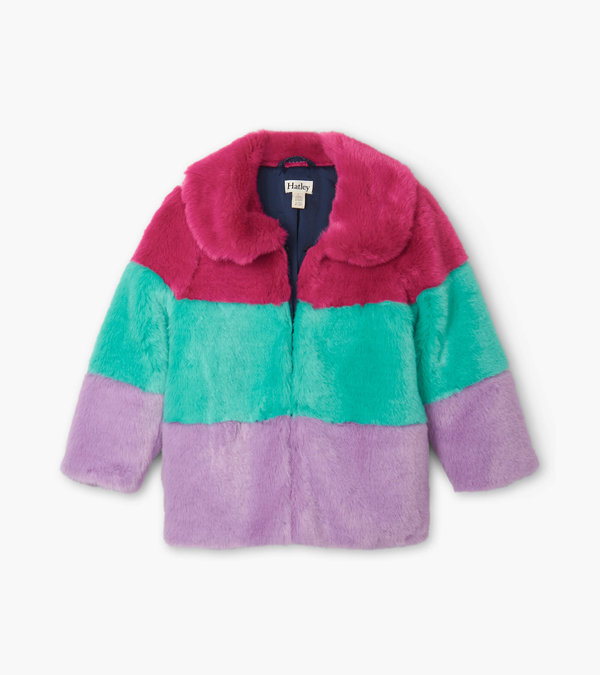 Faux Fur Colour Block Jacket