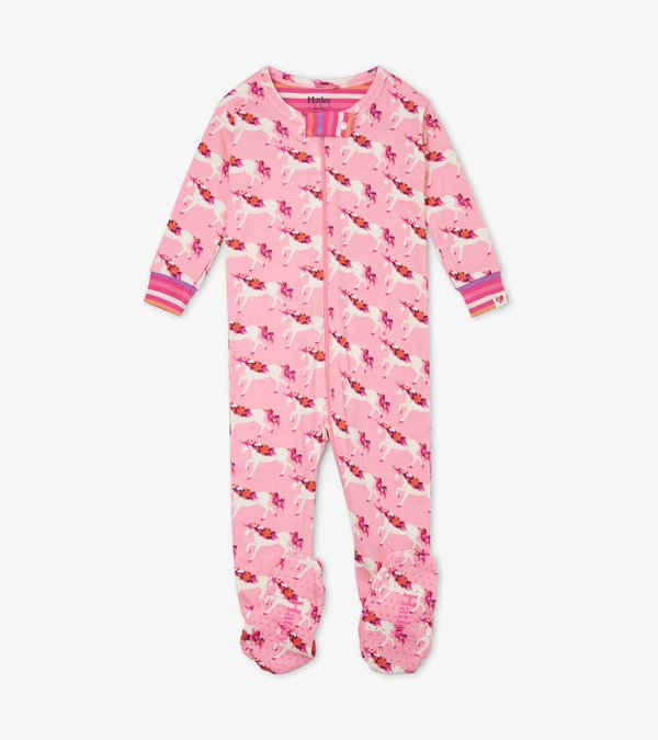 Floral Unicorns Organic Cotton Footed Coverall