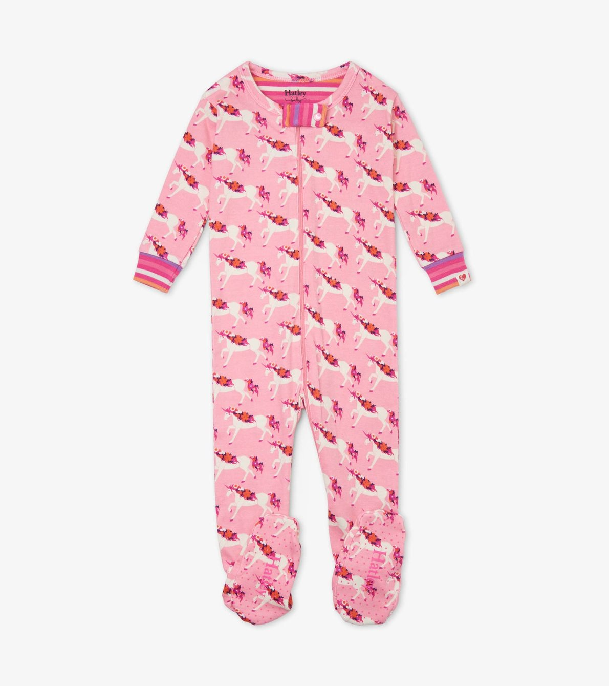 View larger image of Floral Unicorns Organic Cotton Footed Coverall