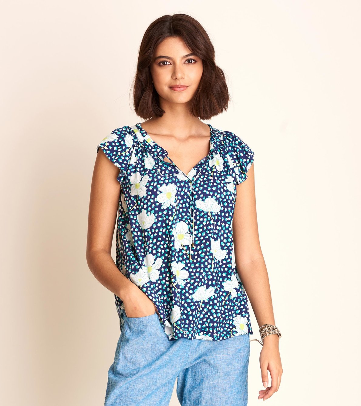View larger image of Flutter Sleeve Blouse - Flower Dots