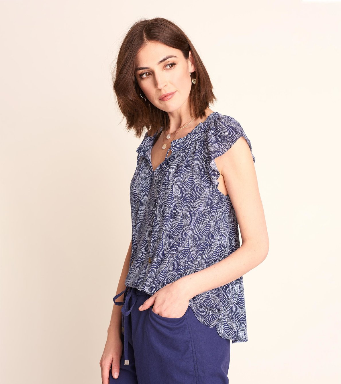 View larger image of Flutter Sleeve Blouse - Scallop