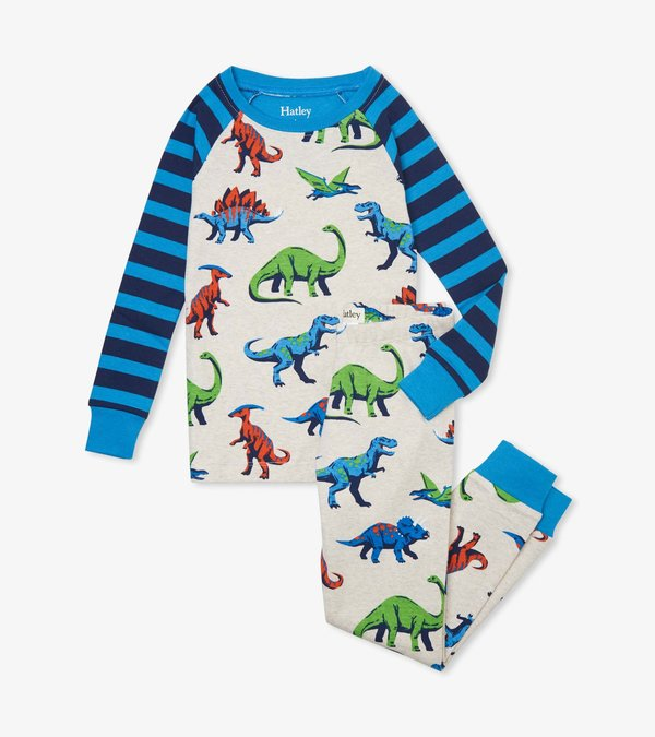 Friendly Dinos Organic Cotton Raglan Pajama Set