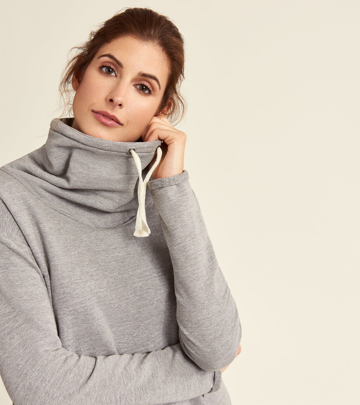 View larger image of Funnel Neck Tunic - Salt and Pepper Charcoal