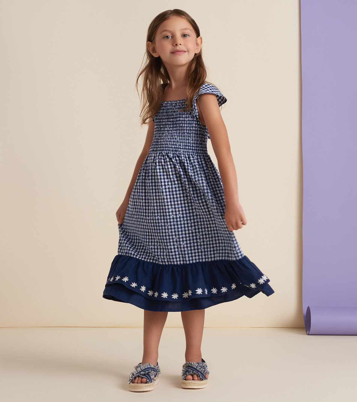 View larger image of Gingham Bow Back Smocked Maxi Dress