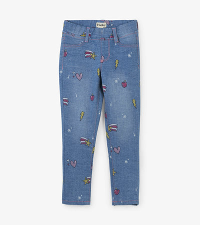 Pantalon extensible en denim – Gribouillages roses